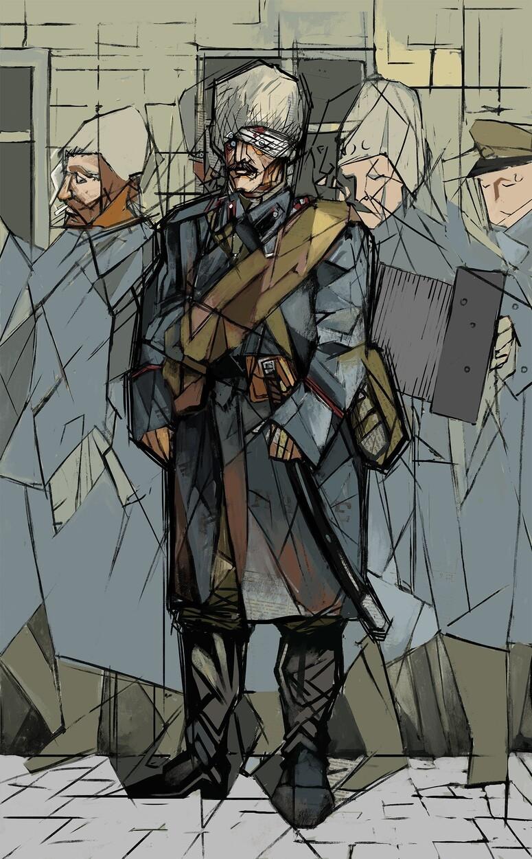 Wracając z frontu w 1916