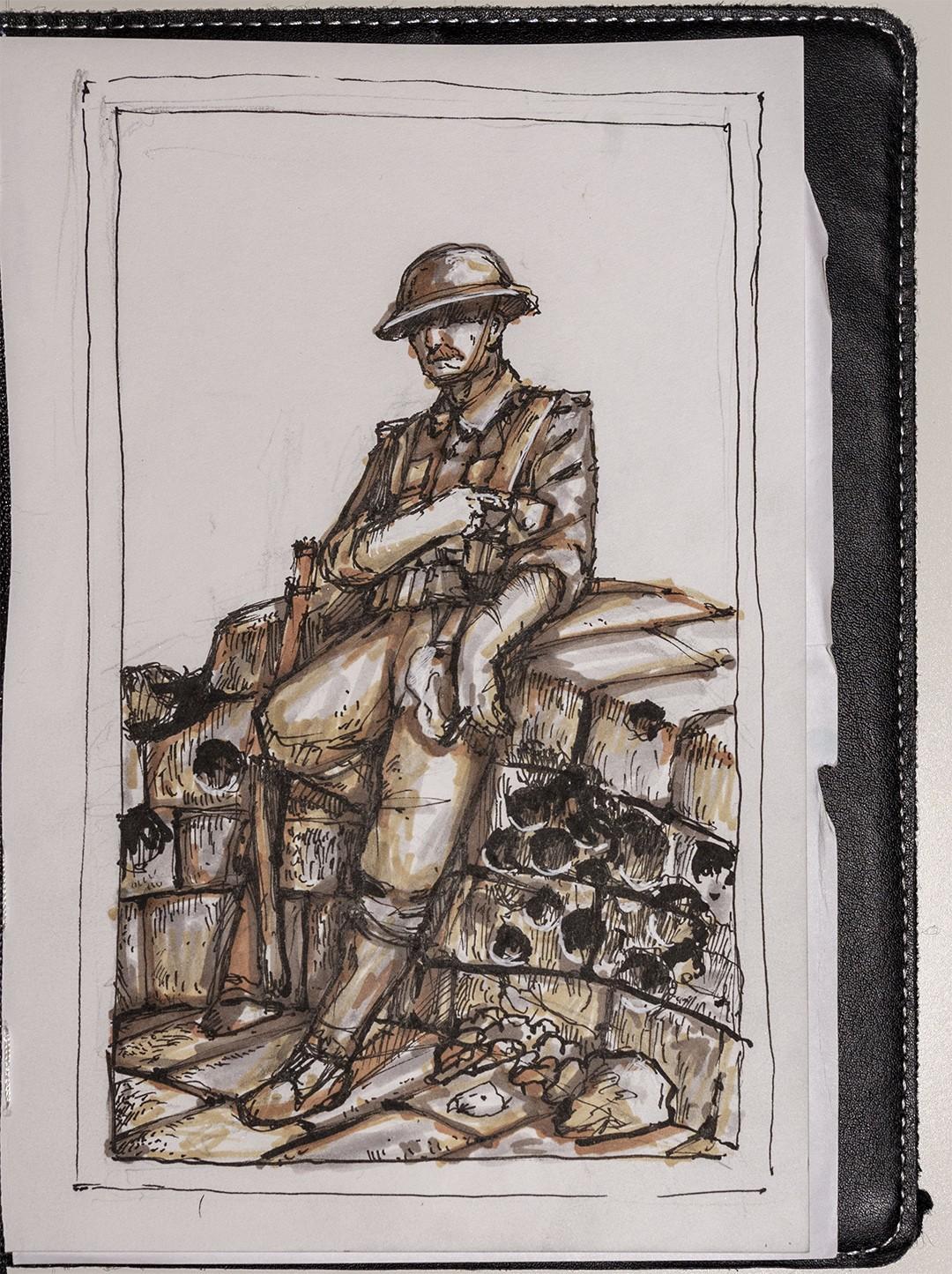 żołnierz na moście